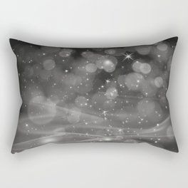 Pantone Pewter Gray Whimsical Glowing Orb Sparkles Rectangular Pillow