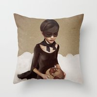 power Throw Pillows featuring With Great Power by Ruben Ireland