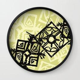 African Pattern, Tribal Motif - Green Black Wall Clock