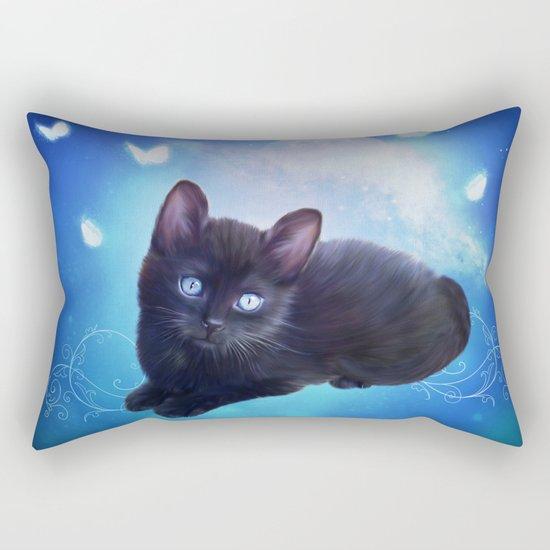 Cute little black kitten Rectangular Pillow