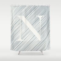 striped Shower Curtains featuring Striped N by DLUTED DESIGN