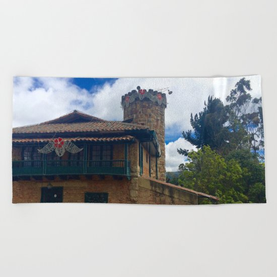 Mount Monserrate at Christmastime Maybe, Bogota, Colombia Beach Towel