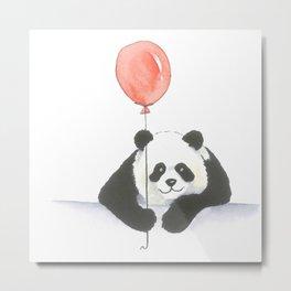 A panda and a red balloon Metal Print