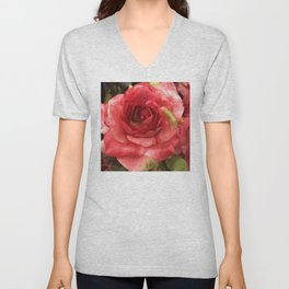 Single Silk Red Rose Macro Photo Unisex V-Neck