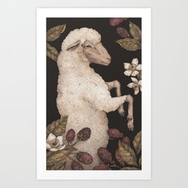The Sheep and Blackberries Art Print