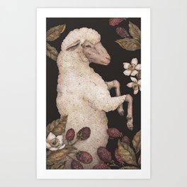 The Sheep and Blackberries Art Print