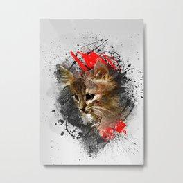 Kitten - abstract animal poster Metal Print