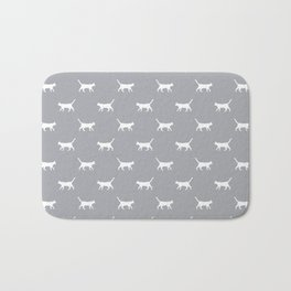 Cat silhouette cat lady cat lover grey and white minimal modern pet silhouette pattern Bath Mat