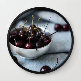 Bowl of Sweet Cherries Wall Clock