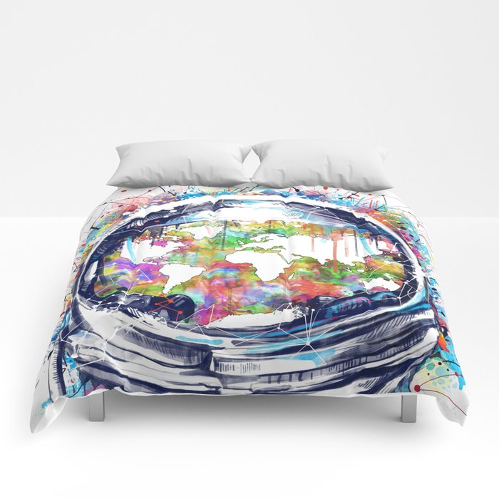 Astronaut world map colorful comforters by bekimart society6 astronaut world map colorful comforters gumiabroncs Image collections