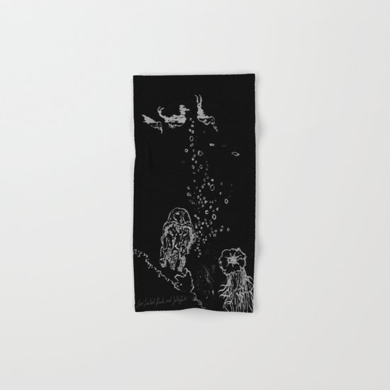 Two Tailed Duck and Jellyfish Black and Dark Deep Sea Hand & Bath Towel