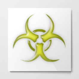 Yellow Biological Hazard Symbol Metal Print