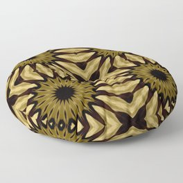Subdued Gold Pinwheel Flowers Floor Pillow