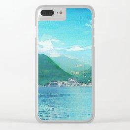 Lago di como in watercolor Clear iPhone Case