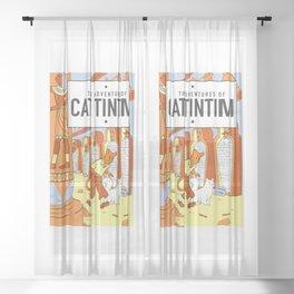 Belgian Comics Cat Tintim Sheer Curtain