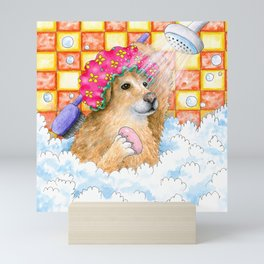 Dog 129 Funny Golden Retriever Mini Art Print