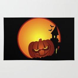 Evil Halloween Pumpkin Scene Rug