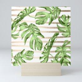 Simply Tropical White Gold Sands Stripes and Palm Leaves Mini Art Print