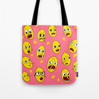 lemongrab Tote Bags featuring Lemongrab PINK  by Stiles