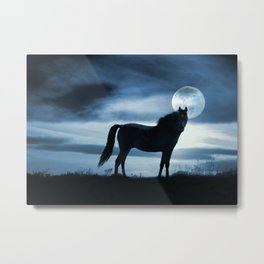 Horse and Moon Surreal Photography Fantasy Blue Sky Horse Metal Print