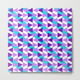 Geometric Chevron Pattern of Triangles and Stripes in Purple and Aqua Neon Metal Print