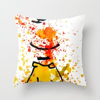 charlie brown Throw Pillows featuring Charlie Brown by benjamin james