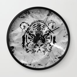 Black and white Tiger portrait  on paper canvas Wall Clock