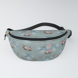 Vintage Blue with Antique Pink Roses Design Fanny Pack