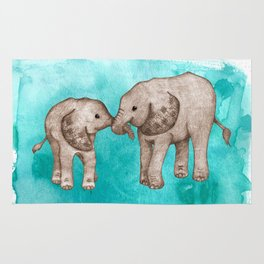 Baby Elephant Love - sepia on watercolor teal Rug