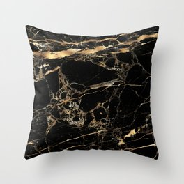 Marble, Black + Gold Veins Throw Pillow