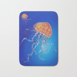 Jellyfish, Oil painting by Faye Bath Mat