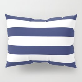 Navy Blue and White Stripes Pillow Sham