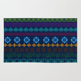 Swedish Midnight Folk Art Rug