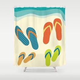 The Flip Flops Family Shower Curtain
