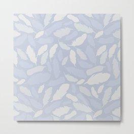 Feather Pattern Light Blue Metal Print