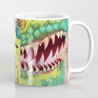 sci fi Mugs featuring Sci-fi Dinosaur. by Rachel Alderson