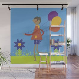 A boy with his balloons. Wall Mural