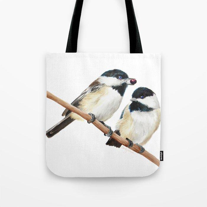 Black Capped Chickadees Tote Bag