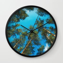 Pine trees rest against the sky Wall Clock