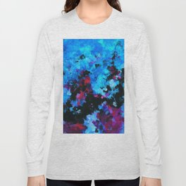 Teal (Blue) Abstract Acrylic Painting Long Sleeve T-shirt