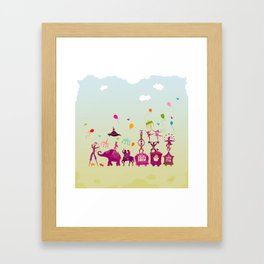 colorful circus carnival traveling in one row during daylight Framed Art Print