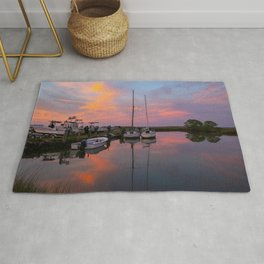Boats in Poquoson at Sunset Rug