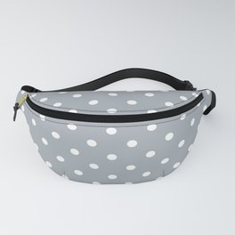 Grey Mist Background with White Polka Dots Fanny Pack