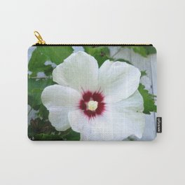 White Hibiscus Flower Ruffle Carry-All Pouch