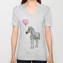 Zebra with Pink Balloon Unisex V-Neck