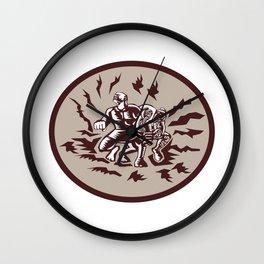 Tiitii Wrestling God of Earthquake Circle Woodcut Wall Clock
