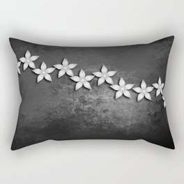 Spectacular silver flowers on black grunge texture Rectangular Pillow