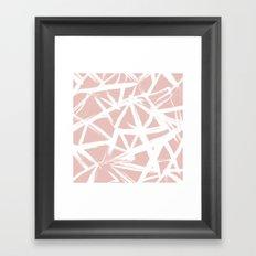 Modern white abstract geometric hand painted brushstrokes pale blush pink Framed Art Print