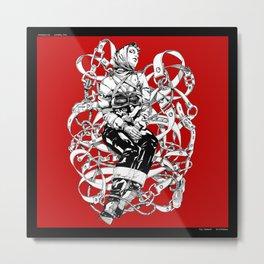 Lady in Belts Fantasy on red.  Yury Fadeev. Metal Print