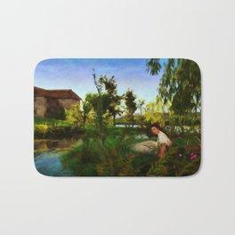 WILDFLOWERS Impressionist Landscape Bath Mat